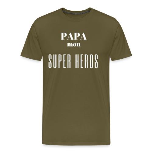 Papa mon super héros - T-shirt Premium Homme