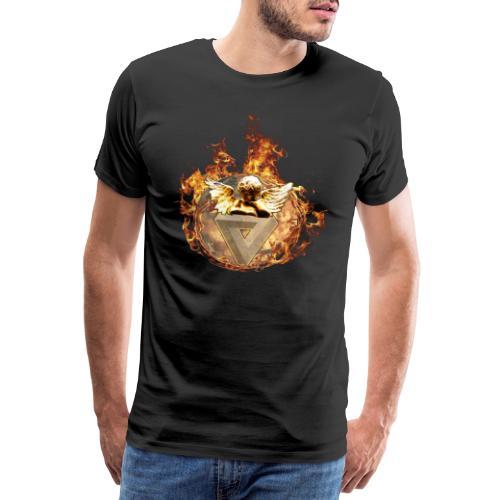 Planet + Feuerring, Feuerengel auf opt. Täuschung - Männer Premium T-Shirt