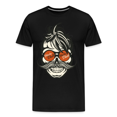 tete de mort hipster skull crane moustache lunette - T-shirt Premium Homme