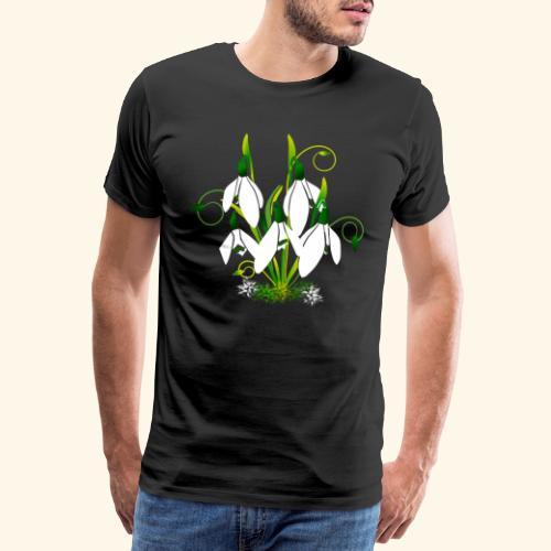 Schneeglöckchen, Blumen, Blüten, floral, Ornamente - Männer Premium T-Shirt