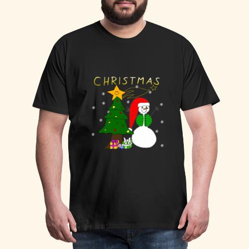 Christmas, Weihnachten, Schneemann, Weihnachtsbaum - Männer Premium T-Shirt