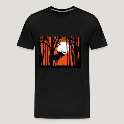 Sonnenuntergang, Elch im Wald, Moose in the woods - Männer Premium T-Shirt