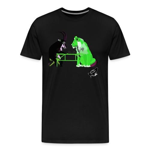 Playing Senet by BlackenedMoonArts, green w. logo - Herre premium T-shirt