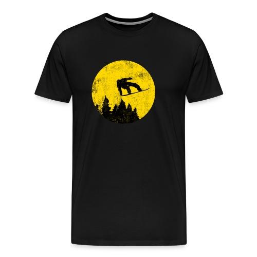 Snowboarder vor dem Vollmond - Männer Premium T-Shirt