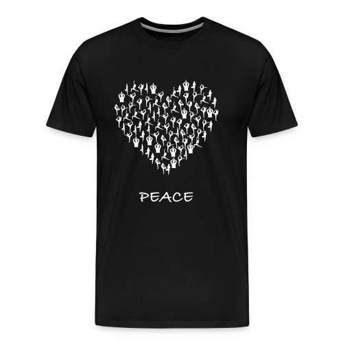 Peace Yoga Heart With Tiny Yoga Poses Meditation - Premium T-skjorte for menn