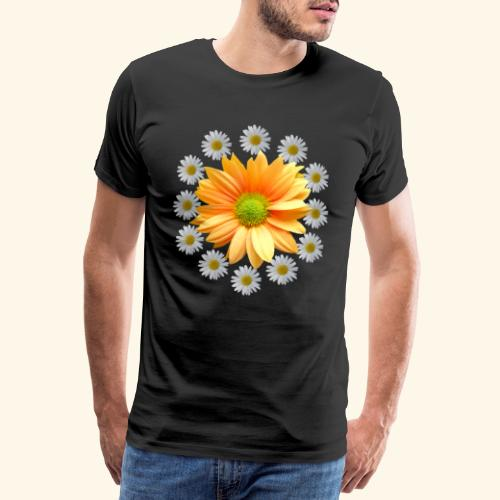 Margeriten mit einer orangen Chrysantheme, Blumen - Männer Premium T-Shirt