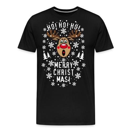75 Hirsch Rudolph Ho Ho Ho Merry Christmas Schrei - Männer Premium T-Shirt