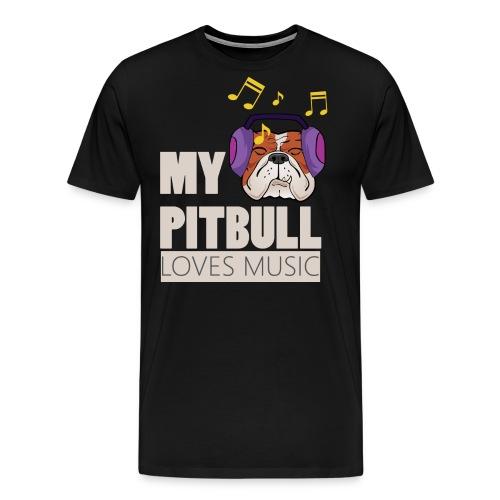 Pitbull loves music - Men's Premium T-Shirt