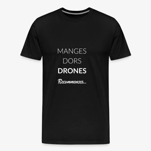ROUTINE DRONE WHITE - T-shirt Premium Homme