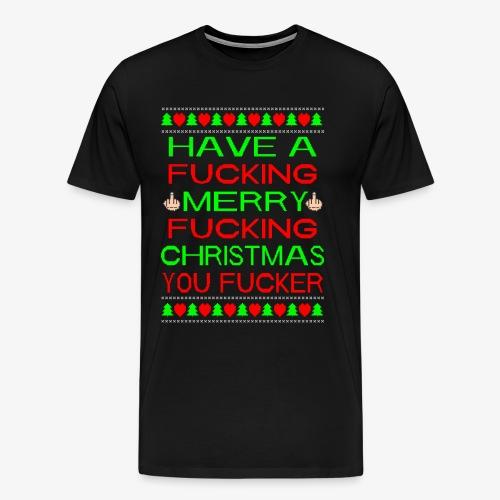 Merry Fucking Christmas Ugly Christmas Sweater - Männer Premium T-Shirt