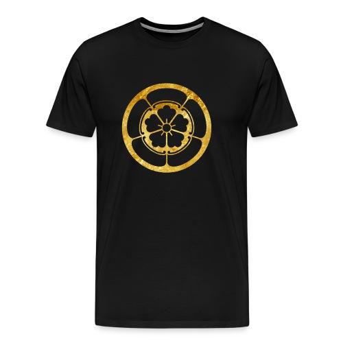 Oda Mon Japanese samurai clan in gold - Men's Premium T-Shirt
