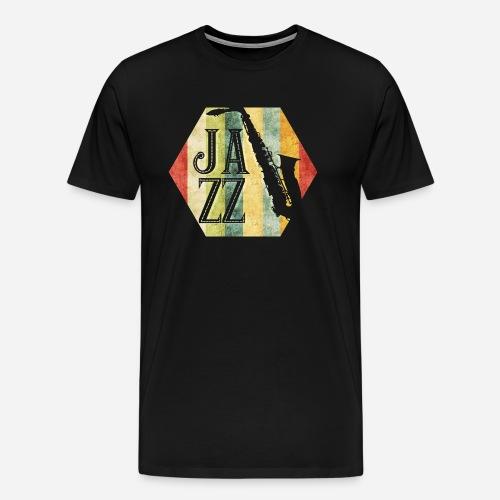 Jazz Retro Sechseck mit Saxophon - Männer Premium T-Shirt