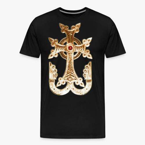 Armenisches Kreuz / Armenian Cross Gold Metallic - Männer Premium T-Shirt