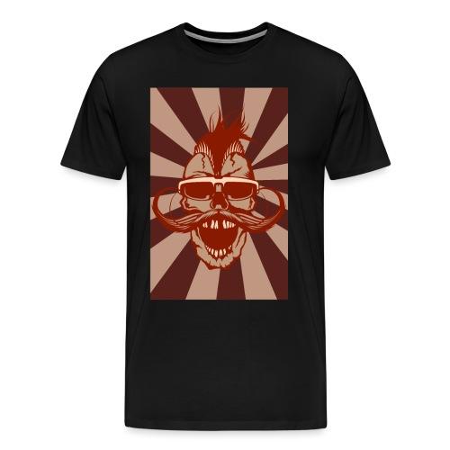 tete de mort crane hipster skull moustache design - T-shirt Premium Homme