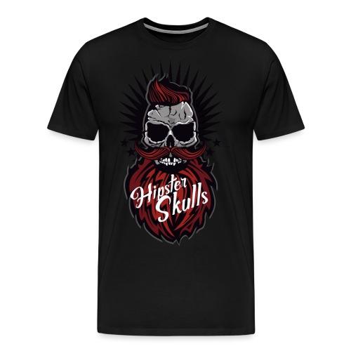 tete de mort hipster skull moustache barbe logo ba - T-shirt Premium Homme