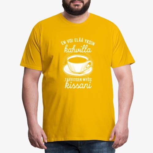 Yksin Kahvilla Kissa - Miesten premium t-paita