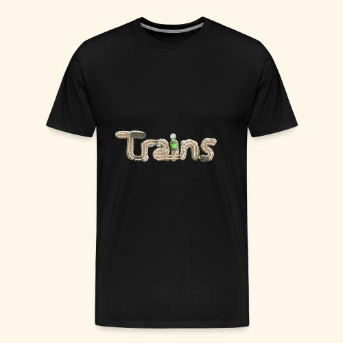 Colourful eagle eye's view of model trains - Men's Premium T-Shirt