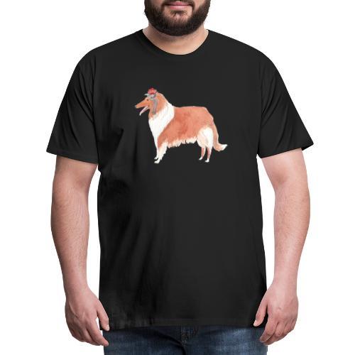 collie with flower - Herre premium T-shirt