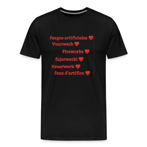 Vuurwerk in meerdere talen - Mannen Premium T-shirt