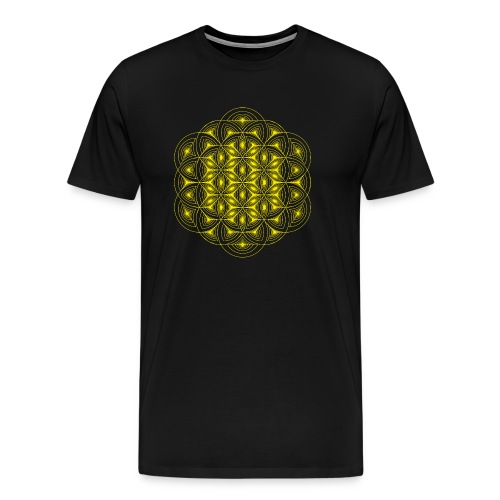 Flower of Life Dimensions Yellow - Men's Premium T-Shirt