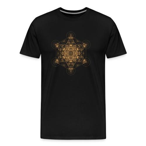Fractal Metatron's Cube Orange - Men's Premium T-Shirt