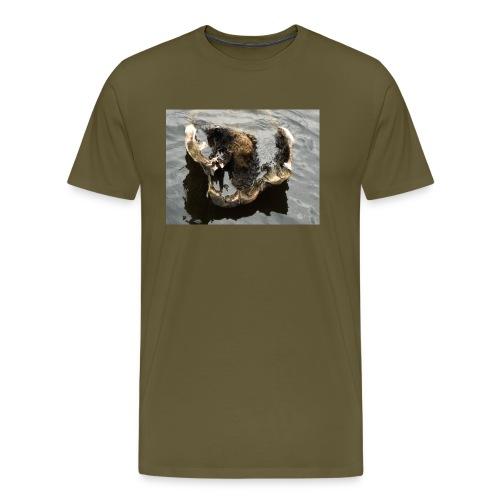 Tässä makaan ja muuta en voi - Miesten premium t-paita