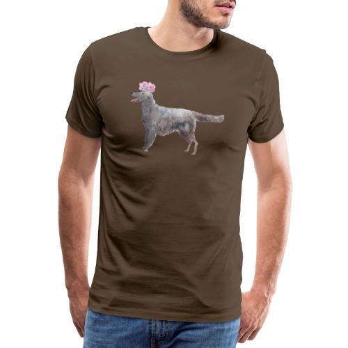 Flatcoated retriever with flower - Herre premium T-shirt