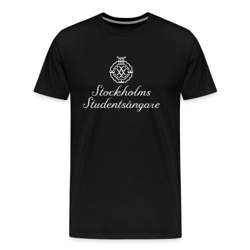 SSSF logo / emblem + namn (vit) - Premium-T-shirt herr