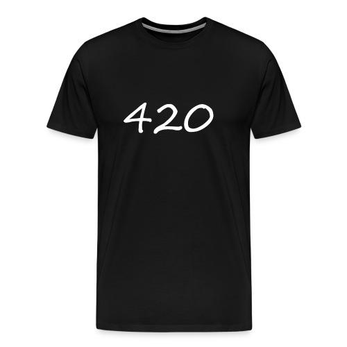 A hand drawn cannabis inspired 420 text logo - Men's Premium T-Shirt
