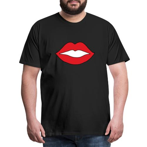 Rote Lippen Mund - Männer Premium T-Shirt