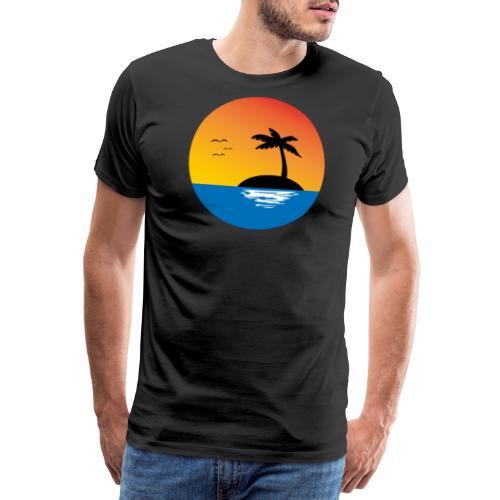 Insel Palme Sonnenuntergang - Männer Premium T-Shirt