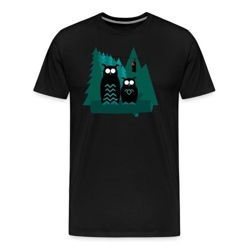 Tvilling-ugglor - Premium-T-shirt herr