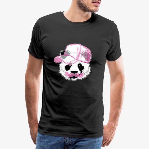 Panda - Pink - Cap - Mustache - Männer Premium T-Shirt