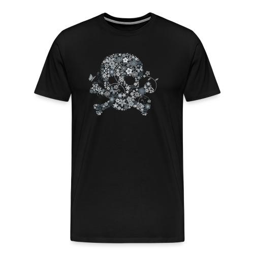 Tête de mort fleurs blanches - white flower skull - T-shirt Premium Homme