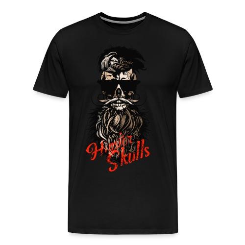 tete de mort barbu hipster barbe crane moustache m - T-shirt Premium Homme