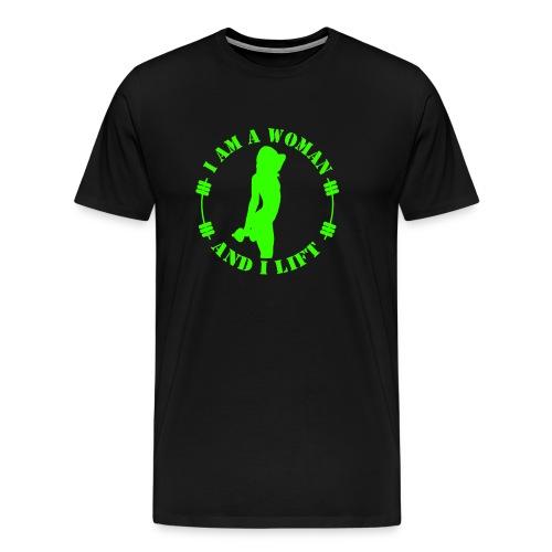 I am a woman and I lift green - Men's Premium T-Shirt
