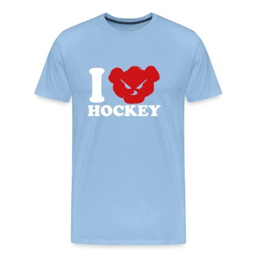 i love hockey white png - T-shirt Premium Homme