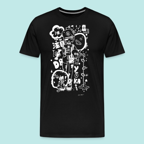 Fille manga dark avec monstres rock kawaii Blanc - T-shirt Premium Homme