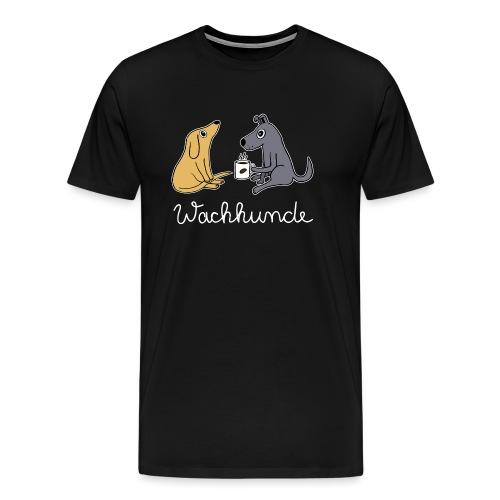 Wachhund trinkt Kaffee Koffein weckt müde Hunde - Männer Premium T-Shirt