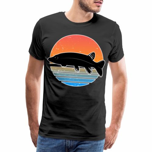 Retro Hecht Angeln Fisch Wurm Raubfisch Shirt - Männer Premium T-Shirt