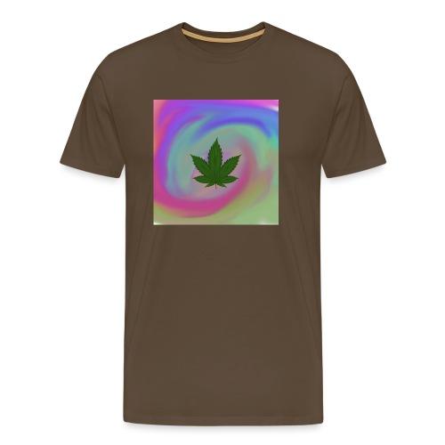 Hanfblatt auf bunten Hintergrund - Männer Premium T-Shirt