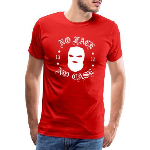 No Face, No Case - Skimask - valkoinen iso printti - Miesten premium t-paita