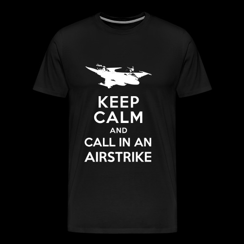 keep_calm_airstrike_white - Herre premium T-shirt