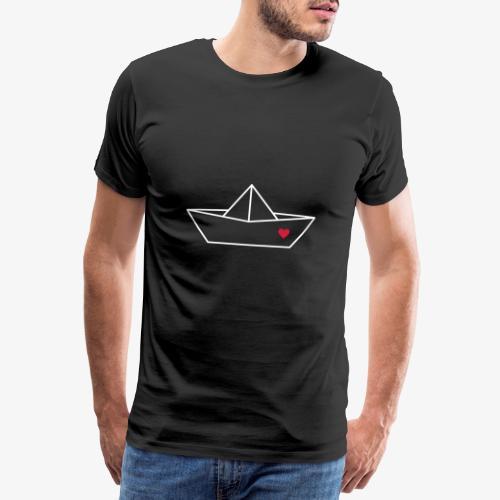 Segelboot Boot Papier Schiff Herz Liebe Geschenk - Männer Premium T-Shirt