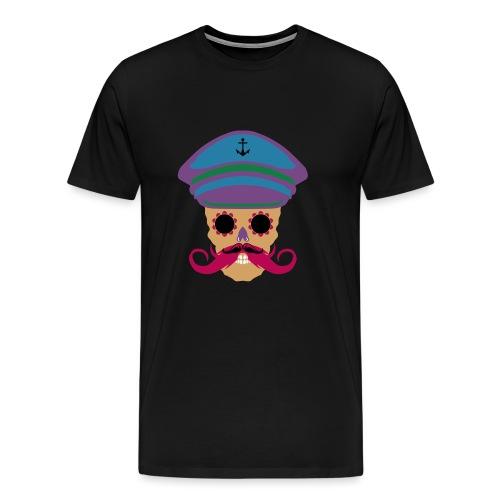 tete de mort fantaisie crane dessin kepi moustache - T-shirt Premium Homme