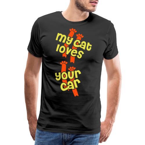 Katze Mieze liebt auto rutscht schmutzig - Männer Premium T-Shirt
