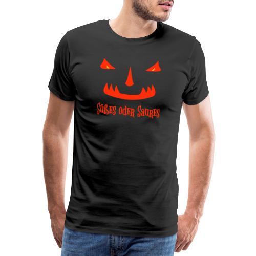 Halloween Süßes oder Saures mit Monstergesicht - Männer Premium T-Shirt