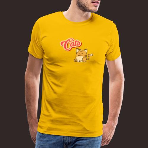 Katze   Katzen süß Schriftzug - Männer Premium T-Shirt