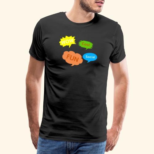 Sprechblasen Wow Cool Fun Social - Männer Premium T-Shirt