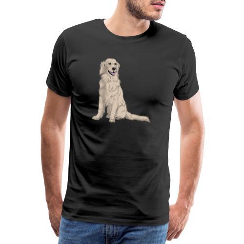 Golden retriever - sit - Herre premium T-shirt